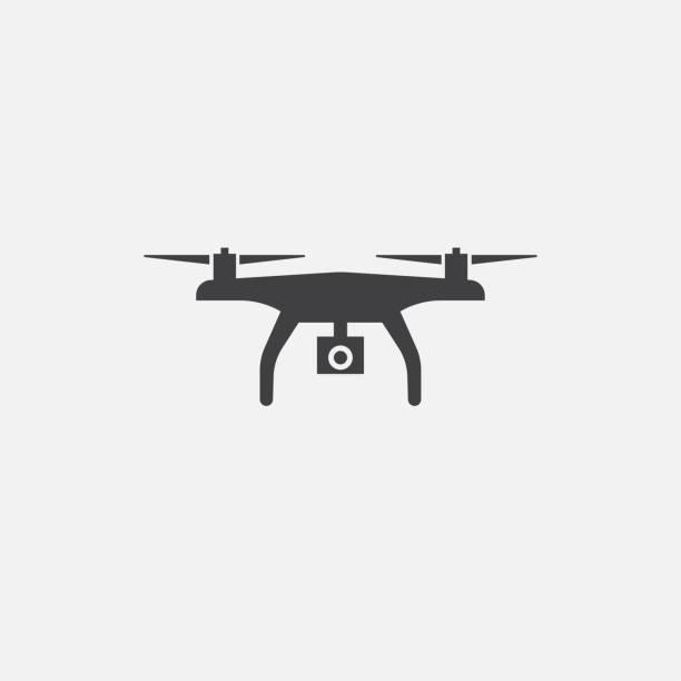 드론 기본 아이콘입니다. 간단한 기호 그림입니다. 무인 항공기 기호 디자인입니다. 웹, 인쇄 및 모바일에 사용할 수 있습니다. - 무인 항공기 stock illustrations