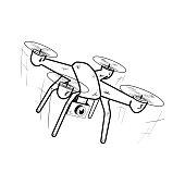 istock Drone. Black and white icon. Vector illustration. 1252594859