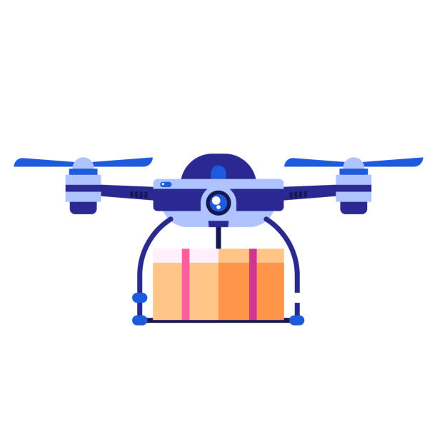 Drone Carrying Cupboard vector art illustration