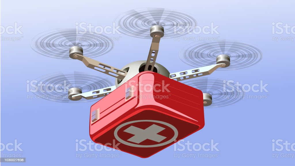 Drone Delivering First Aid Box. - Royalty-free Accidents and Disasters stock vector