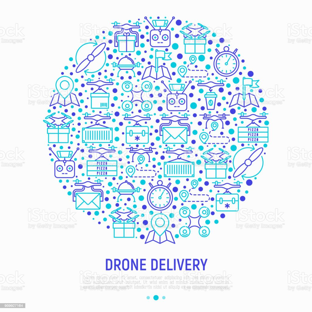 Drone Delivery Concept In Circle With Thin Line Icons