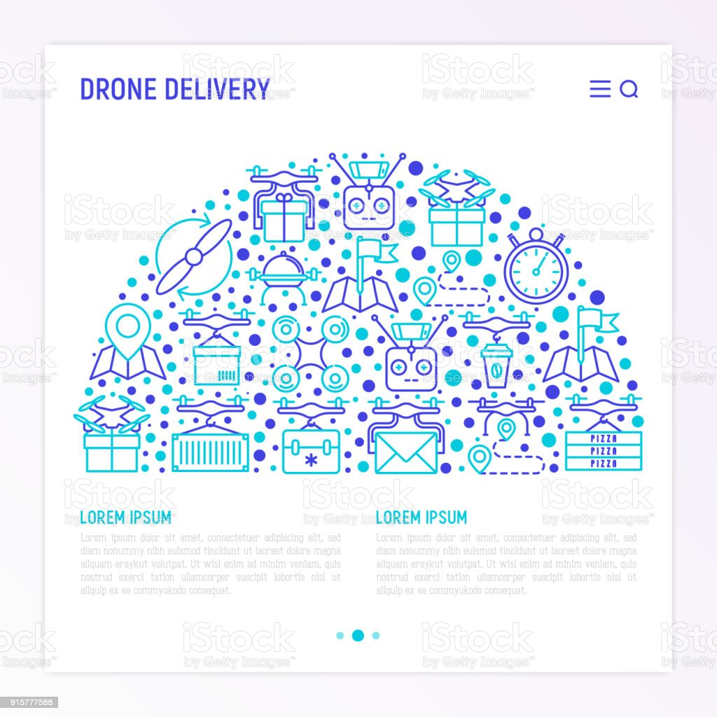 Drone Delivery Concept In Half Circle With Thin Line Icons