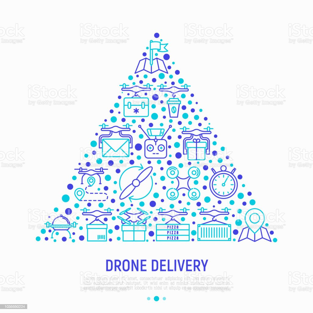 Drone Delivery Concept In Triangle With Thin Line Icons