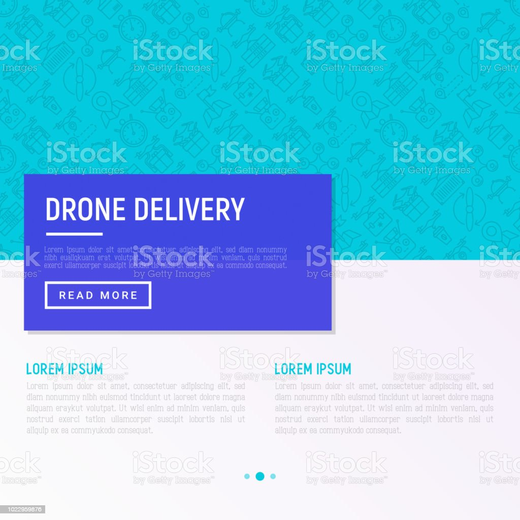 Drone Delivery Concept With Thin Line Icons Quadcopter