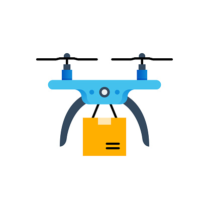 Drone Delivery Flat Icon. Flat Design Vector Illustration