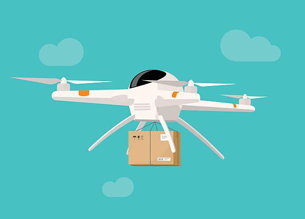 ilustrações de stock, clip art, desenhos animados e ícones de drone delivery flying in sky shipping parcel box vector illustration - drone