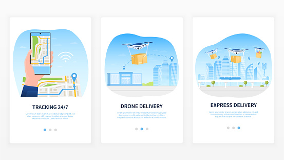 Drone Delivery Service Concept. Delivery tracking using a mobile application. Map for shipment tracking. Colorful template for mobile application, website or web design. Flat Vector Illustration