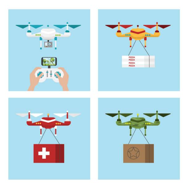 ilustrações de stock, clip art, desenhos animados e ícones de drone delivery set. - drone