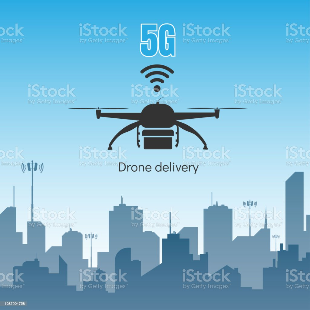 Drone Delivery With 5g Internet High Speed Concept Stock