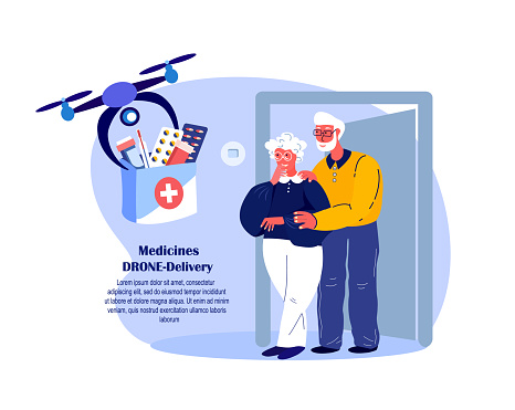Drone Delivery.Retired Couple Old Woman Receive Contactless Delivery First Aid Kit,Remotely Piloted Flying Aircraft.Medicament,Drugs,Remedy.Aged Pensioners. Buy,Receive Parcel.Flat Vector Illustration