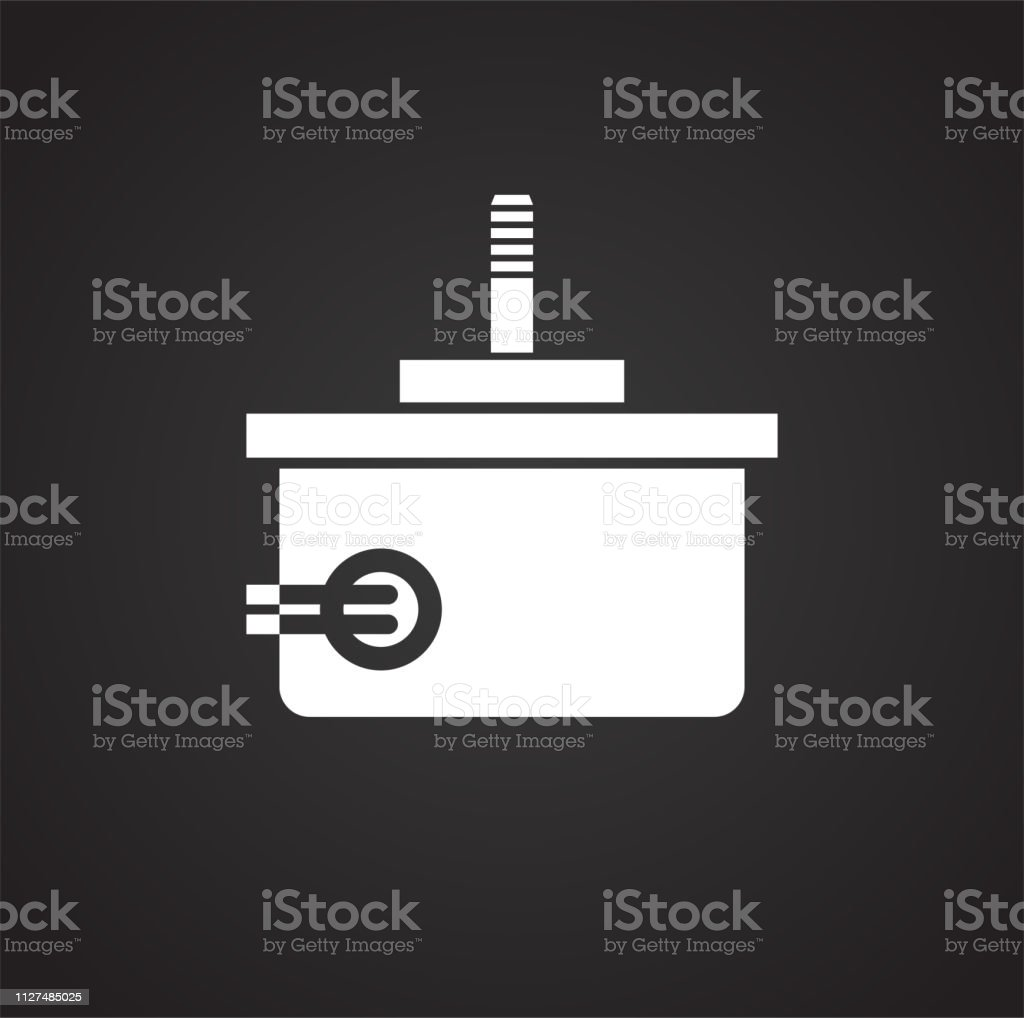 Drone Electric Motor Icon On Black Background For Graphic