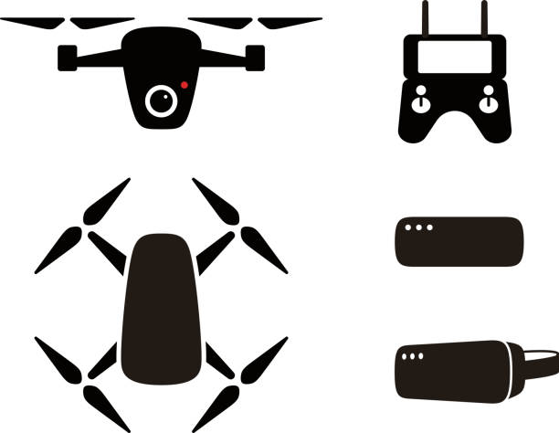 Drone Flat Icon Set Design Flying Vector Illustration Art