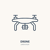 Drone flat line icon. Aerial survey device sign. Thin linear logo for photo equipment store
