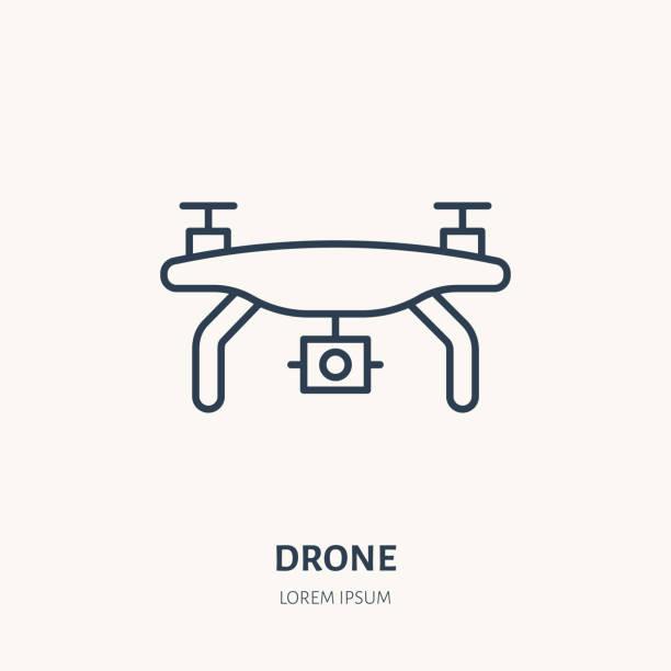 ilustrações de stock, clip art, desenhos animados e ícones de drone flat line icon. aerial survey device sign. thin linear logo for photo equipment store - drone