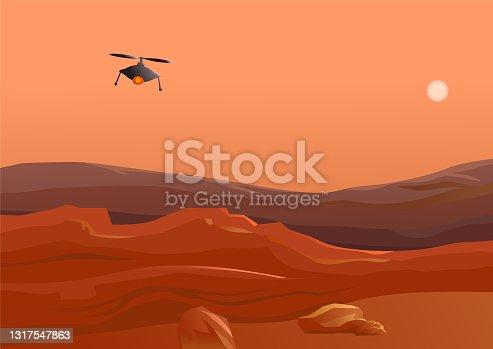 istock Drone flying in Mars desert vector 1317547863