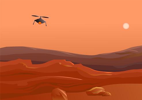 Drone flying in Mars desert vector