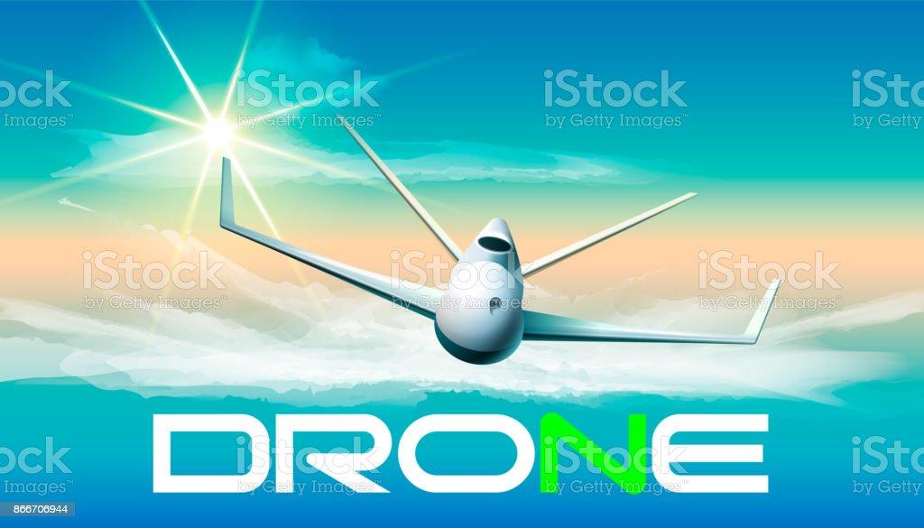 Drone flying in sunlight. Vector illustration of flying drone in sunlight and a word.