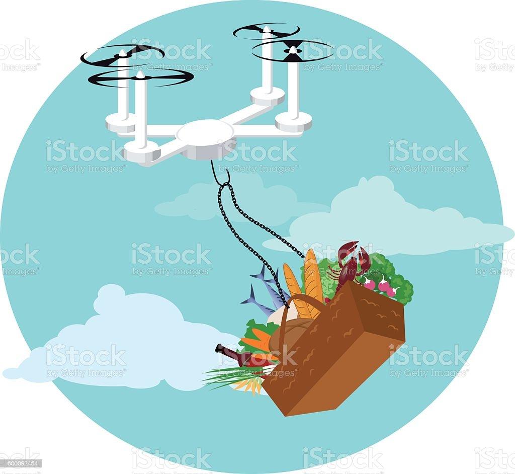 Drone Food Delivery Lizenzfreies Vektor Illustration