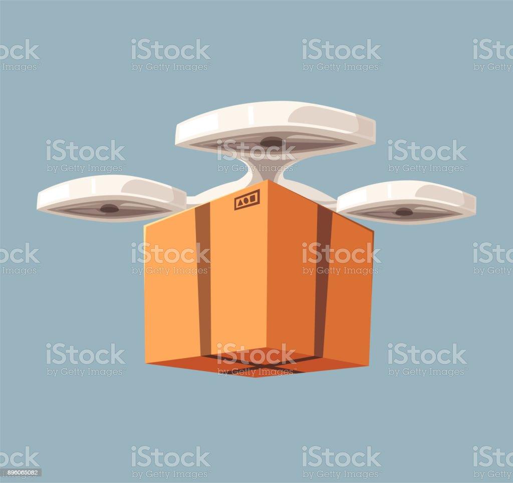Drone for air delivery. Modern technologies. Cartoon vector illustration vector art illustration