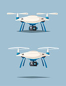 Drone for delivery and entertainments. Modern technologies. Photo and video. Cartoon vector illustration. Remove control. For web and print.