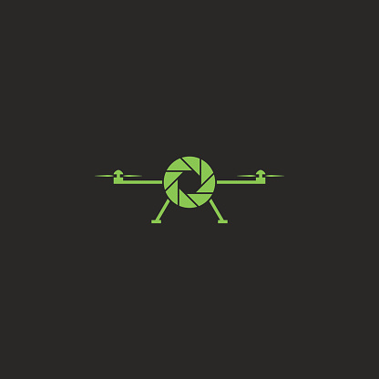 Drone icon flat style green flying copter