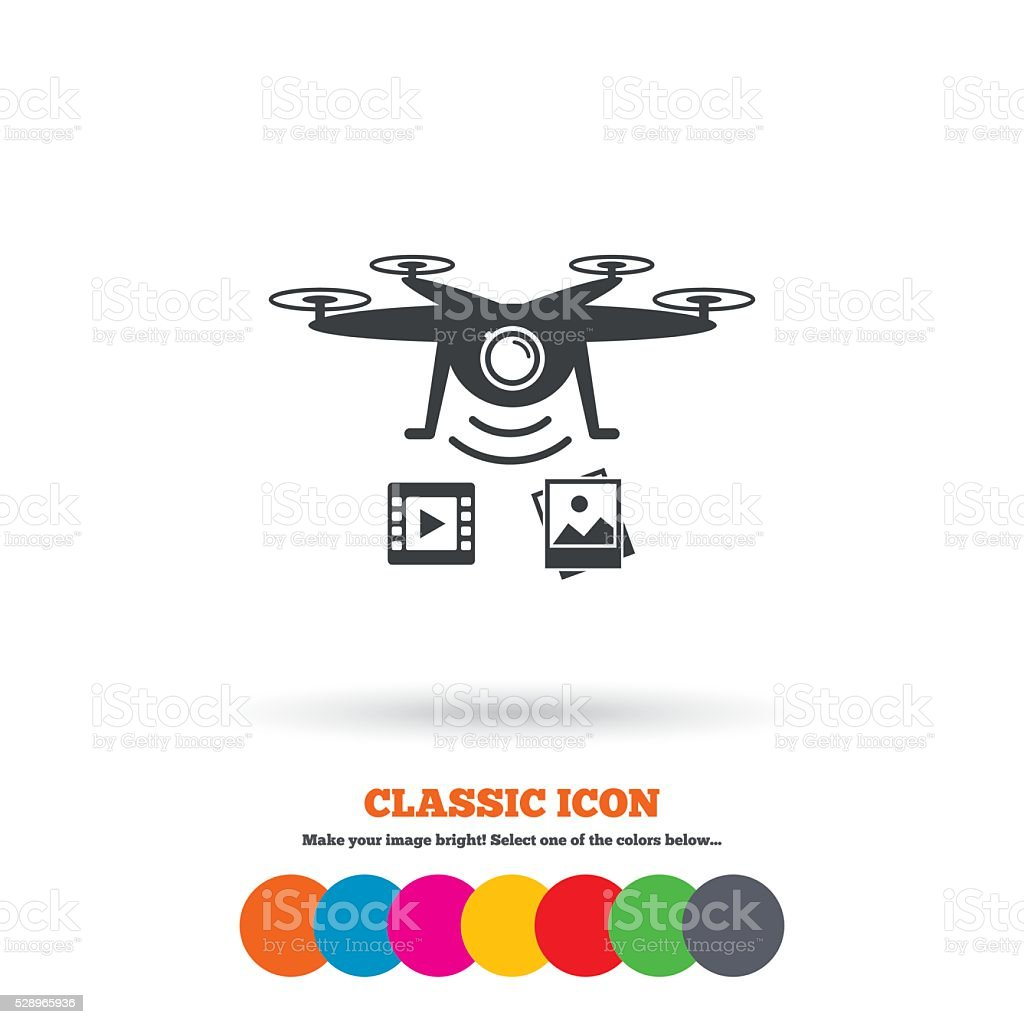 Drone Icon Quadrocopter With Video Camera Royalty Free