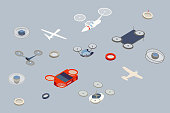 Detailed icon set with a variety of flying drones in a variety of futuristic shapes and configurations. No specific manufacturer is represented.