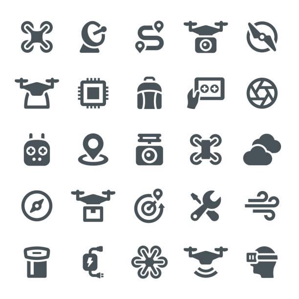 ilustrações de stock, clip art, desenhos animados e ícones de drone icons - drone