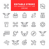 Drone, copter, quadcopter, editable stroke, outline, icon, icon set, propeller,  flying, air vehicle