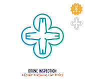 Drone inspection vector icon illustration for logo, emblem or symbol use. Part of continuous one line minimalistic drawing series. Design elements with editable gradient stroke line.