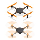Realistic Air Drone Quadrocopter in the Sky and Turned Off For Monitoring and Video Isometric View. Vector illustration