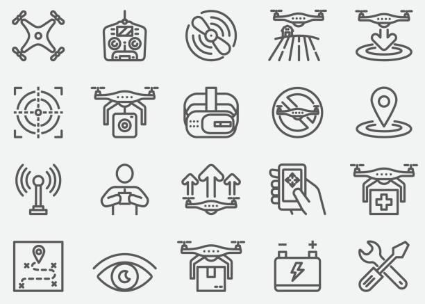 ilustrações de stock, clip art, desenhos animados e ícones de drone line icons - drone