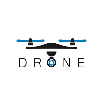 Drone Logo Design Template, Aerial Photography Logo