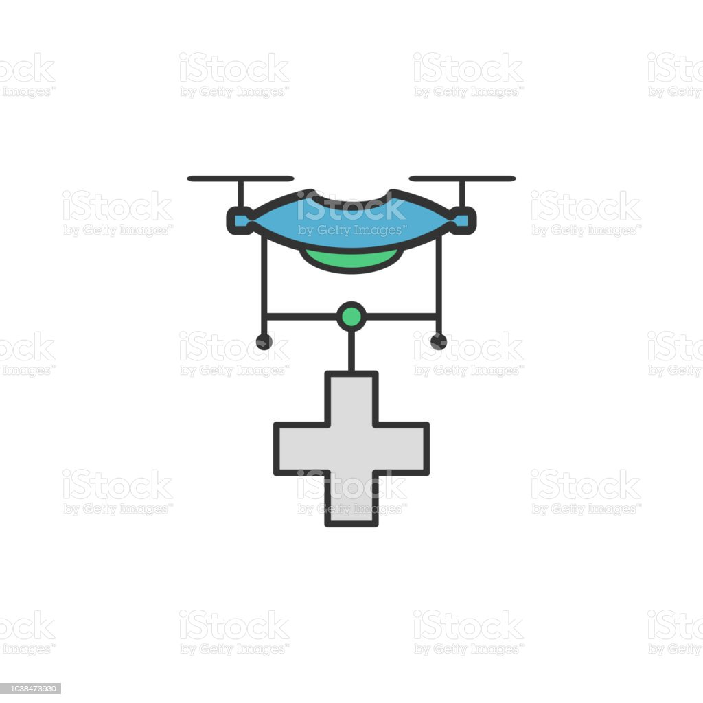 Drone medical help colored icon. Element of Virtual reality icon for...