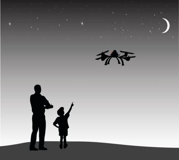 ドローン夜間飛行 - リモート点のイラスト素材/クリップアート素材/マンガ素材/アイコン素材