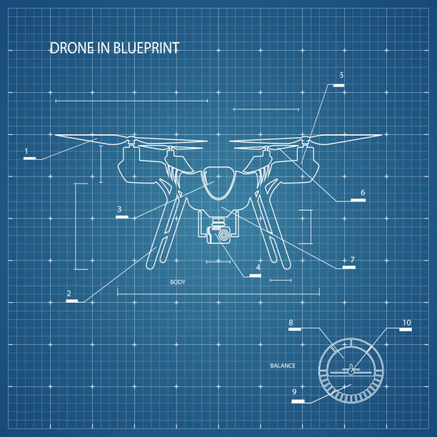 ilustrações de stock, clip art, desenhos animados e ícones de drone on blueprint - drone