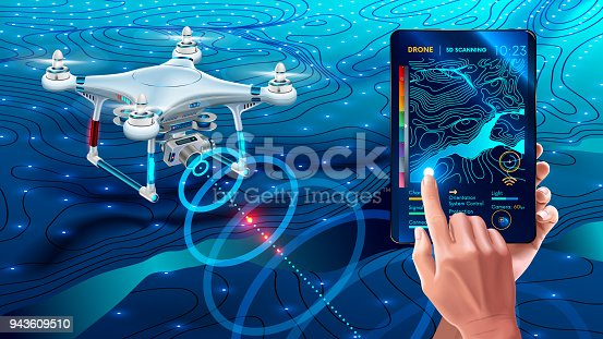 istock Drone or quadcopter with camera 3d scanning land. Drone fly over landscape and make geological mapping of the field. Landforms display on digital tablet in hands. Modern agricultural technology 943609510