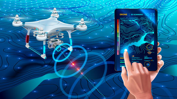 illustrazioni stock, clip art, cartoni animati e icone di tendenza di drone or quadcopter with camera 3d scanning land. drone fly over landscape and make geological mapping of the field. landforms display on digital tablet in hands. modern agricultural technology - drone