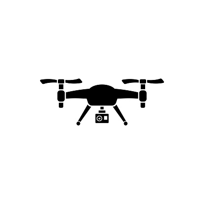 Drone Quadrocopter with Action Camera Flat Vector Icon