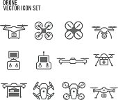 Drone Quadrocopters and remote control Icon Vector Set