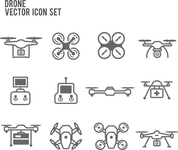 무인 비행기 quadrocopters 및 원격 제어 아이콘 벡터 세트 - 무인 항공기 stock illustrations