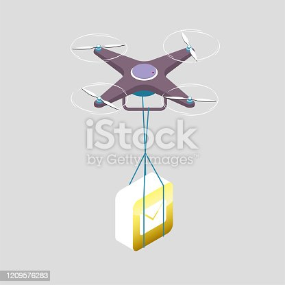 Drone shipping app. The background is gray.