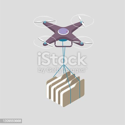 Drone shipping folders. The background is gray.