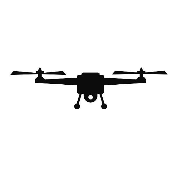 ilustrações de stock, clip art, desenhos animados e ícones de monótona silhueta vector ilustração-vector - drone