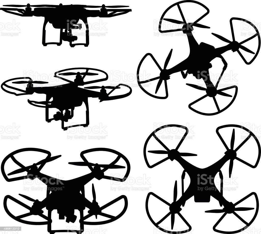 Drone Silhouettes vector art illustration
