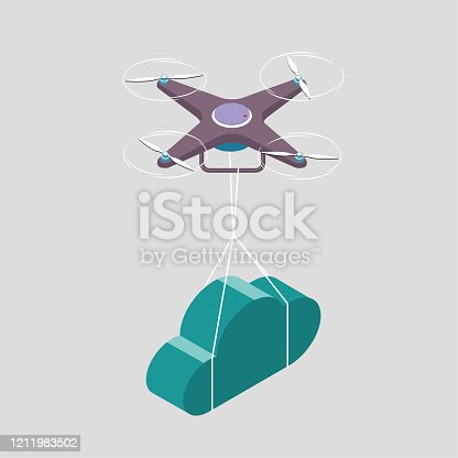 Drone transporting cloud symbol. The background is gray.