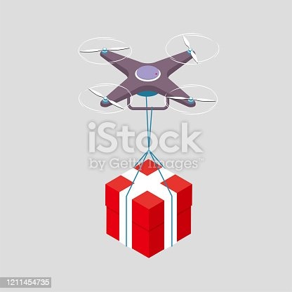 Drone transports gifts. The drone is purple, the gift box is red, and the background is gray.