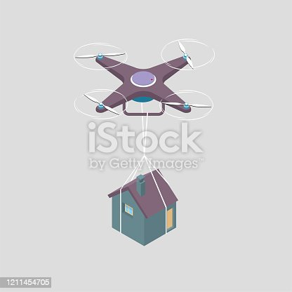 Drone transports houses. The drones are purple, the houses are purple and blue, and the background is gray.