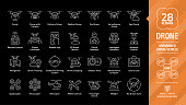 Drone unmanned aerial vehicle editable stroke outline icon set on a black background with UAV digital technology, camera, delivery, medical, toy, surveillance and spy aircraft robots line pictogram.