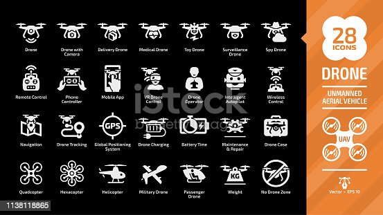 Drone unmanned aerial vehicle glyph icon set on a black background with UAV digital technology, sky camera, delivery, medical, toy, surveillance and spy copters silhouette symbols.